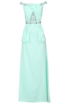 Light Green Embroidered Peplum Dress by AMIT GT