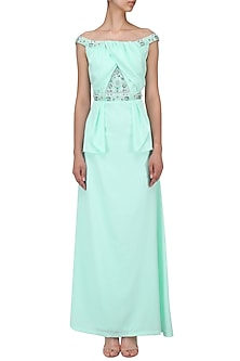 Light Green Embroidered Peplum Dress by AGT By Amit GT