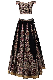 Blue Hand Embroidered Lehenga Set by AMIT GT