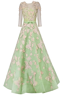 Sea Green Embroidered Ball Gown by AGT By Amit GT