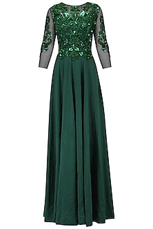 Bottle Green Baroque Embroidered Gown by AGT By Amit GT