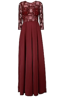 Maroon Spade Line Embroidery Gown by AGT By Amit GT