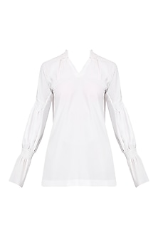 White Pleated Tunic Top by AGT By Amit GT