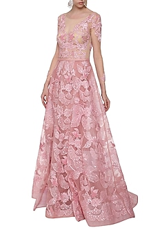 Rose Pink Embroidered Gown by AMIT GT