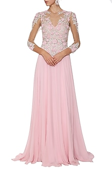 Pink Embroidered Gown by AGT By Amit GT