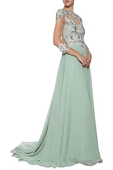 Sea Green Embroidered Gown by AMIT GT