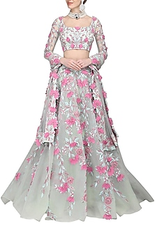 Sea Green Embroidered Applique Work Lehenga Set by AMIT GT