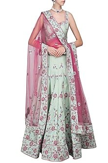 Sea Green Embroidered Lehenga Set by AGT By Amit GT