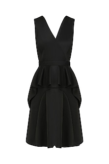 Black Structure Peplum Dress by AGT By Amit GT