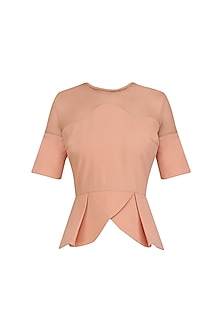Salmon Peplum Top by AGT By Amit GT