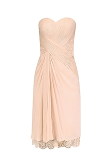 Peach Draped Off Shoulder Dress by AGT By Amit GT