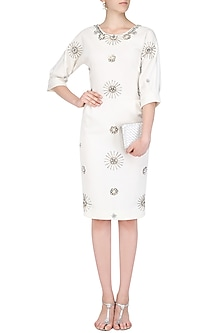 Off White Embellished Motifs Knee Length Dress by AMIT GT