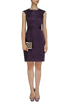 Purple Stone Embellished Knee Length Dress by AMIT GT