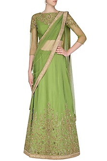 Green and Gold Embroidered Lehenga Set by AMIT GT