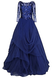 Persian Blue Embroidered Ball Gown by AMIT GT