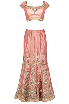 Rasberry Pink Embroidered Shimmer Lehenga Set by AMIT GT