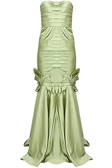 Green pleated bowtie mermaid gown by AGT By Amit GT