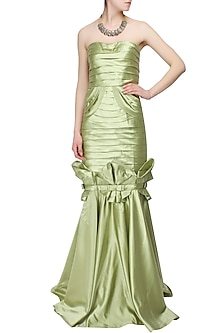 Green pleated bowtie mermaid gown by AMIT GT