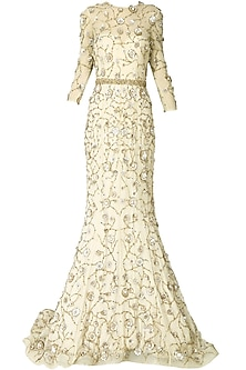 Cream filigree inspired floral embroidered gown by AGT By Amit GT