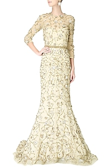Cream filigree inspired floral embroidered gown by AMIT GT