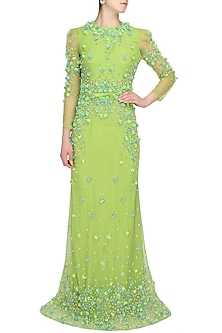 Peridot green 3D floral embroidered flared gown by AGT By Amit GT