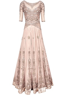Powder pink crystal embellsihed lehenga gown by AMIT GT