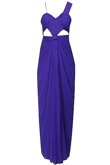 Purple peekaboo cutout with knot over waist gown by AMIT GT