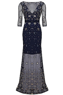 Navy blue beads and sequins embellished flared gown by AMIT GT