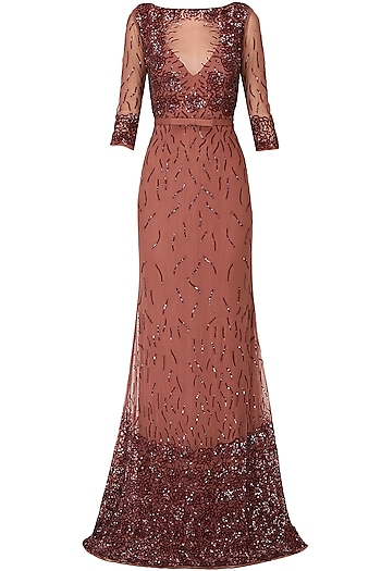 Mahogany sequins embroidered rose motifs gown by AMIT GT