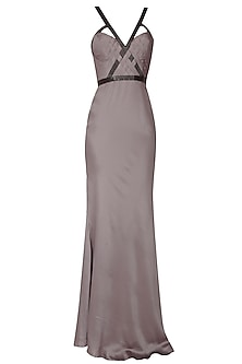 Light grey pleated cutdana embellished short trail gown by AMIT GT