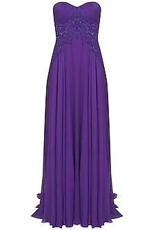 Purple beads and sequind embroidered flowy gown by AMIT GT