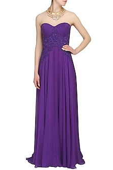 Purple beads and sequind embroidered flowy gown by AGT By Amit GT