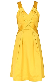 Canary yellow pleated rachel dress by AMIT GT