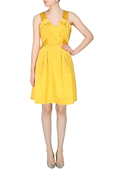 Canary yellow pleated rachel dress by AGT By Amit GT