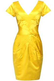 Canary yellow radiating pleated dress by AGT By Amit GT