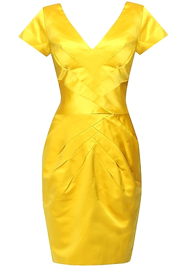 Canary yellow radiating pleated dress by AMIT GT