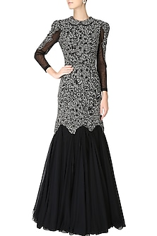 Black textured embroidered mermaid gown by AGT By Amit GT