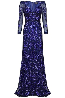 Blue sequins embriodered floor length gown by AGT By Amit GT