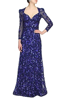 Blue sequins embriodered floor length gown by AMIT GT