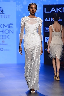 Off White 3D Applique Work Gown by AMIT GT