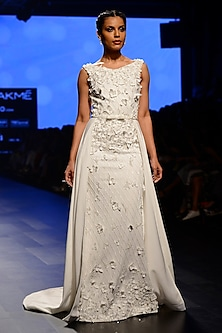 White Floral Embroidered Fish Cut Gown by AMIT GT