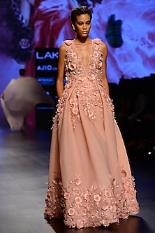 Powder Pink 3D Floral Applique Work Gown by AMIT GT
