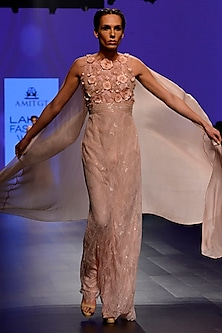 Powder Pink 3D Floral Work Cape Saree Gown by AGT By Amit GT