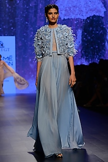 Powder Blue 3D Embroidered Gown with Jacket by AMIT GT