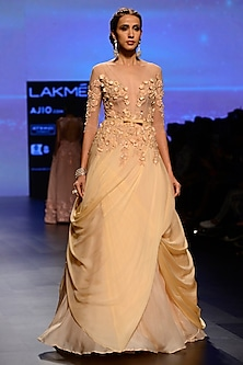 Peach Floral Embroidered Pleated Drape Gown by AMIT GT