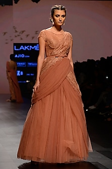 Coral Floral Embroidered Drape Gown by AGT By Amit GT