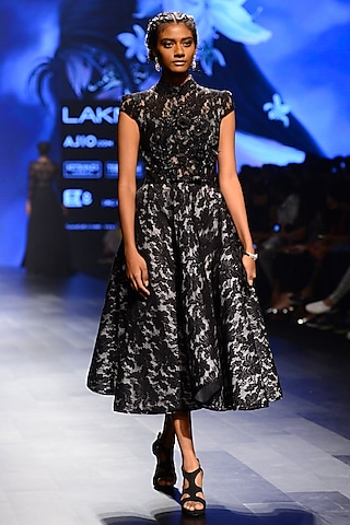 Black Floral Lace Work Fit and Flared Dress by AMIT GT