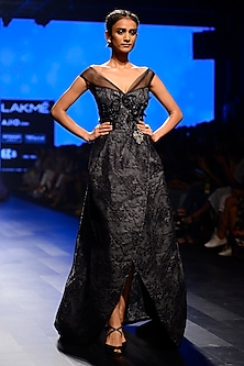 Black Mullet Lace Work Tube Neck Gown by AMIT GT