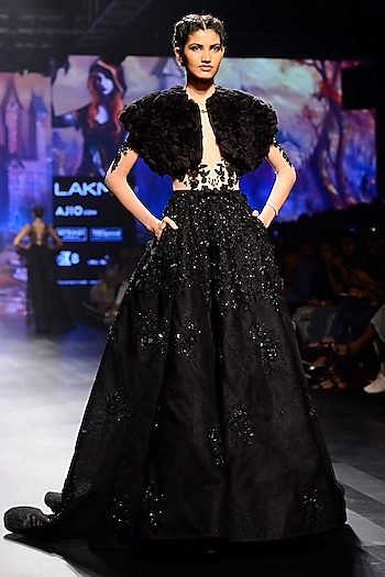 Black Floral and Feather Work Flared Gown by AMIT GT