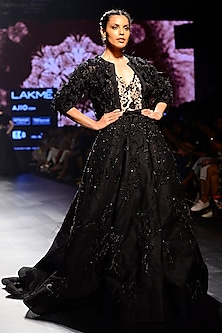 Black Floral Embroidered Ball Gown by AGT By Amit GT
